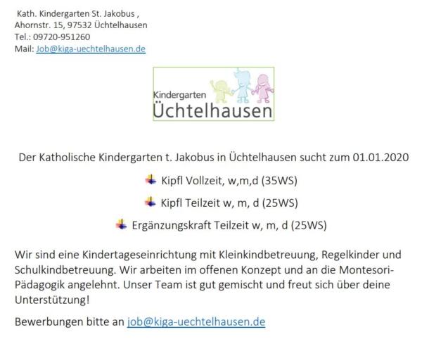 Stellenausschreibung Kindergarten Üchtelhausen
